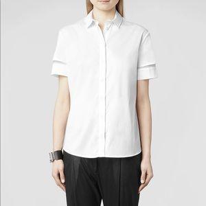 {all saints} tace mesh insert shirt
